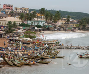 Fishing boats in the harbour next to Elmina Castle.