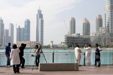 Tourists at Dubai Fountain, Burj Khalifa
