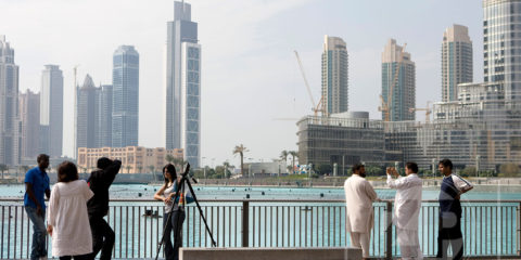 Tourists at Dubai Fountain, Burj Khalifa