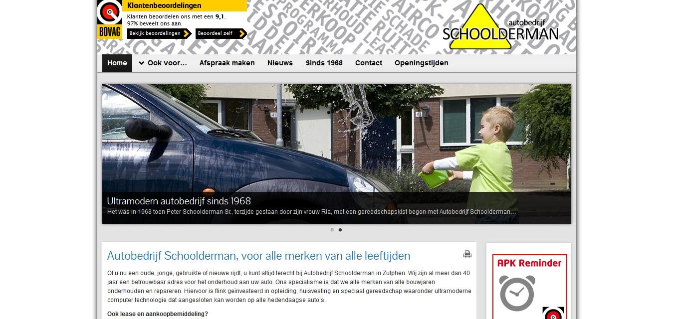 Website Autobedrijf Schoolderman 2013