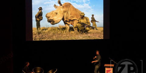 Brent Stirton spreekt tijdens het World Press Photo festival.