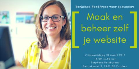 Workshop WordPress voor beginners 10 maart 2017 advertentie