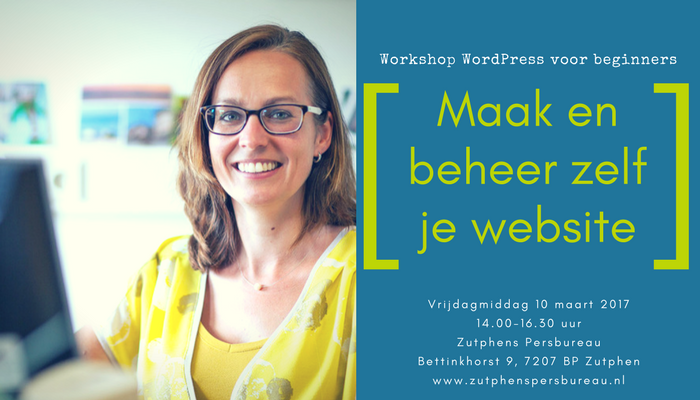 Workshop WordPress voor beginners 10 maart 2017 advertentie