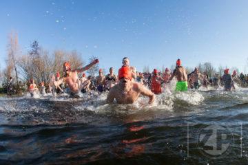 Nieuwjaarsduik 2018 in Bronsbergen. Foto: Patrick van Gemert/Zutphens Persbureau