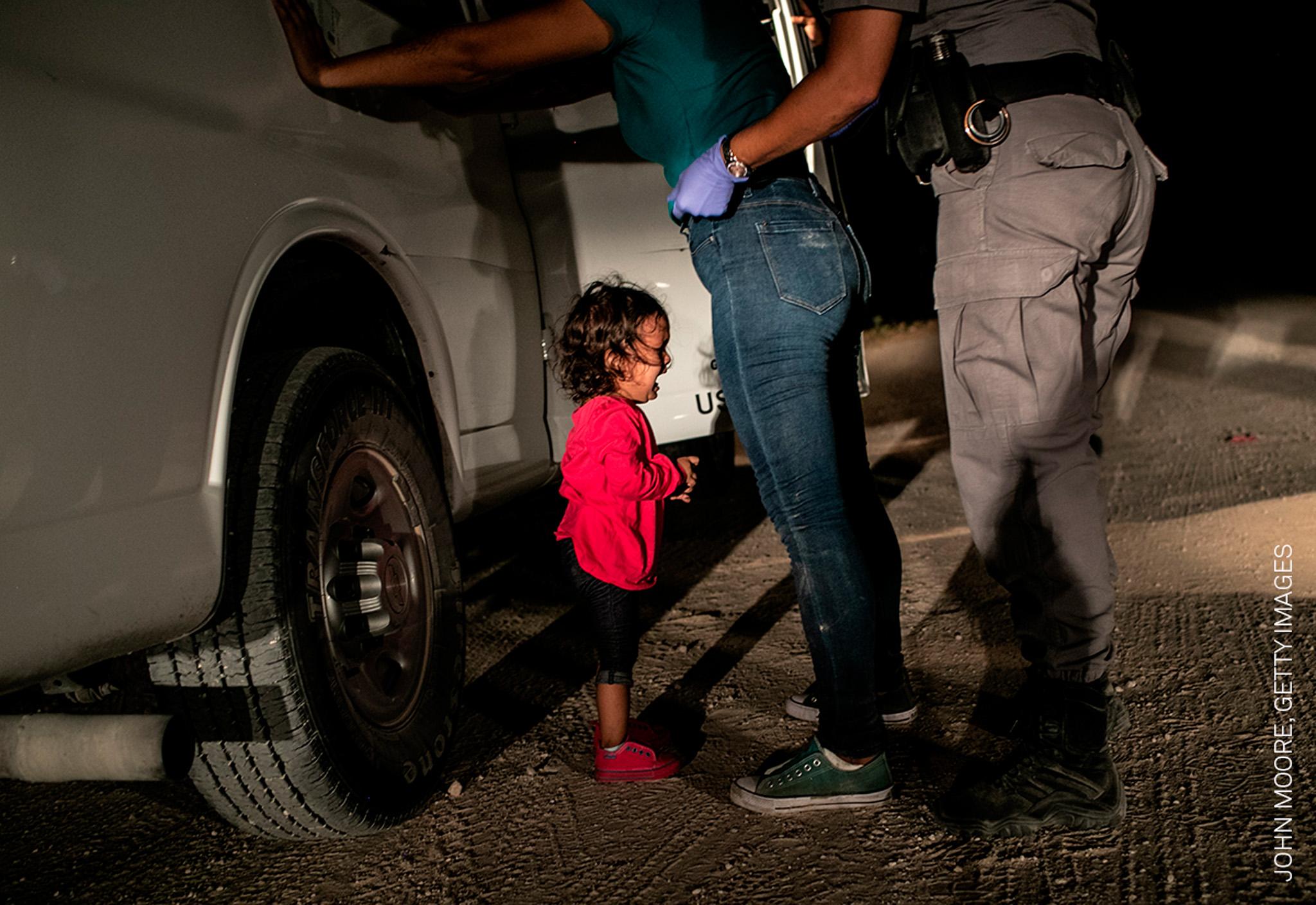 De winnende foto van John Moore, Getty Images. World Press Photo 2019.