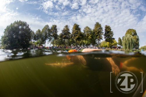 Zwemster tijdens de 4e Editie van de Triathlon van Zutphen. Zwemmers in de Vispoortgracht.